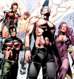 Hellion - The Force Warriors. Age of X versions of Unuscione, Hellion, Rachel Summers, Legion, and Psylocke