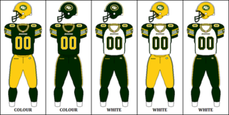 Edmonton Eskimos - The Edmonton Eskimos' 2012–2015 uniform combinations