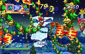 Nights into Dreams - In Christmas Nights the aesthetics of the first level are altered.
