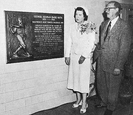 The unveiling of a Babe Ruth memorial plaque in Baltimore's old Memorial Stadium in 1955 with Claire Ruth, his widow, present. Claire Ruth.jpg