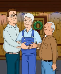 Hank Hill  left   former U S  President Jimmy Carter  middle   and    Michiko Hill