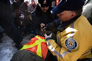 2008–09 York University strike - A CUPE 3903 picketer is arrested during a protest against back to work legislation on January 26th, 2009. It was one of the final sizable protests before the end of the strike.