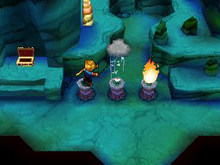 An in-game screenshot of the player's character using magic to conjure rain and douse a torch that was blocking the player's path.