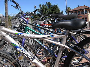Davis, California - Bikes in front of the Davis Amtrak station