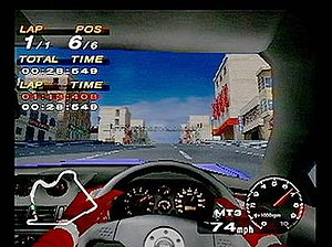Driving Emotion Type-S - The game's car interior view was praised for its level of details. The player is here driving a Mitsubishi FTO GP Version R