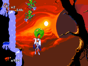 Earthworm Jim (series) - Snott slowing Jim's descent