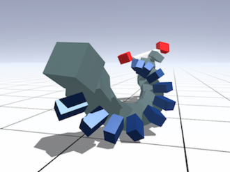 3D Virtual Creature Evolution -  An example of a Rolling Ribbon creature on a flat terrain
