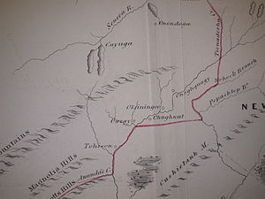 Line of Property - Fragment of Guy Johnson's map of the Line of Property 1768; section centered at Owego