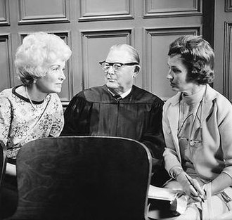 "Perry Mason (TV series) - Gail Patrick Jackson and Erle Stanley Gardner speak with Hollywood columnist Norma Lee Browning during filming of the last Perry Mason episode, ""The Case of the Final Fade-Out"" (1966)"