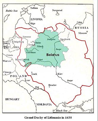 History of Belarus - The Grand Duchy of Lithuania in the 15th century vs. present-day Belarus