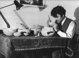 George Palao - George Palao c. 1977 assembling pottery from fragments found in the caves of Gibraltar.