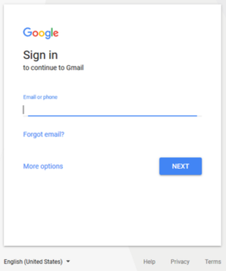 Gmail interface - Gmail's log-in page