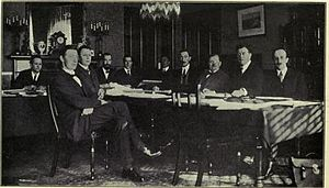 Darrell Figgis - The Constitution Committee meeting at the Shelbourne Hotel, Dublin; Figgis is seated fourth from the left.