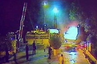 Islamabad Marriott Hotel bombing - CCTV footage of a six-wheeled dumper truck enters the gates of the Marriott hotel.
