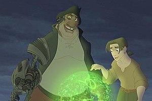 Treasure Planet - Long John Silver and Jim Hawkins examine the planetary map. Silver's cyborg arm was created with computer animation.