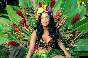 "Roar (song) - Perry in the music video for ""Roar"" dressed as ""Queen of the Jungle""."