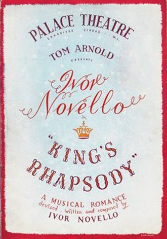 King's Rhapsody - Original programme cover, Palace Theatre, 1949