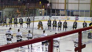 Manchester Storm (2015–) - The side lining up facing the Nottingham Panthers for the national anthem during the Storm's first competitive match in 13 years.