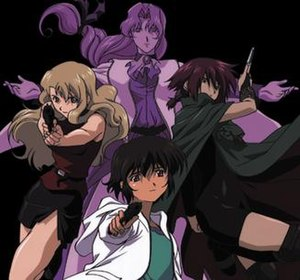 Noir (anime) - The main characters; clockwise from top: Altena, Chloe, Kirika, and Mireille