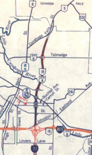 Ohio State Route 8 - The SR 8B freeway, as it appeared on the 1964 Ohio highway map.