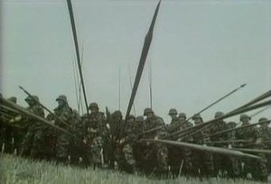 Connections (TV series) - Modern soldiers demonstrate the use of steel-tipped pikes by the Swiss against Charles the Bold in one of the many re-enactments used in Connections.