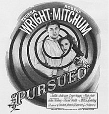 Black-and-white film poster with an image of a young man and woman holding each other. They are surrounded by an abstract, whirlpool-like image; the central arc of the thick black line that define it encircles their head. Both are wearing white shirts and look forward with tense expressions; his right arm cradles her back, and in his hand he holds a revolver. The stars' names - Teresa Wright and Robert Mitchum - feature at the top of the whirlpool; the title and remainder of the credits are below.