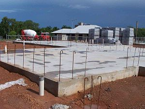 Shallow foundation - Raft slab house foundation in cyclonic area, Northern Australia.