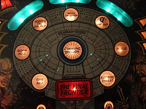 Star Trek: The Next Generation (pinball) - Missions shown on the Starship Enterprise in attract mode