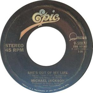She's Out of My Life - Image: She's Out of My Life by Michael Jackson US vinyl