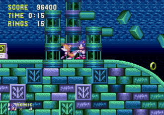 Sonic the Hedgehog 3 - Sonic and Tails exploring the underwater portion of Hydrocity, the second zone
