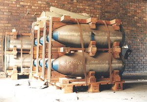 South Africa and weapons of mass destruction -  Bomb casings at South Africa's abandoned Circle nuclear bomb production facility near Pretoria. These most likely would have accommodated a gun-type nuclear package for air delivery