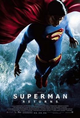 """Superman above North America at night; his shirt and tights are blue, with a yellow insignia with a red border and stylized """"S"""" on his chest; his cape, briefs and boots are red, and he wears a yellow belt with a similar insignia on the buckle as on his chest."""