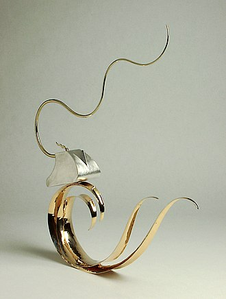 Kevin O'Dwyer (silversmith) - Image: Teapot Crest of Wave gold silver jpeg lo res