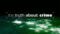 "The text ""The Truth About Crime"" in white and lower case, increasing in boldness, overlaid on a green, horizontal map highlighted with glowing white dots fading to black at the top of the image"