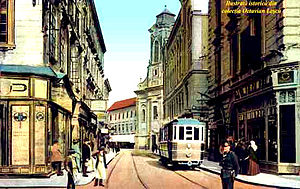 Timișoara - Historical image of a streetcar in Timișoara in 1910