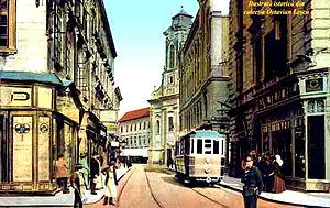 Timișoara - Historical image of a streetcar in Timișoara in 1910