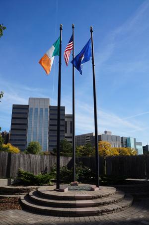 UIS Irish Plaza - The flags at the UIS Irish Plaza