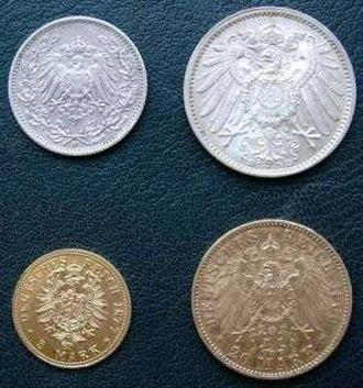 German gold mark - Goldmark coins (½, 1, 5 and 20 Mark)