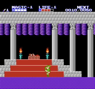 Zelda II: The Adventure of Link - Zelda under an enchanted sleep