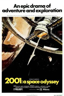 "A painted image of a space station suspended in space, in the background the Earth is visible. Above the image appears ""An epic drama of adventure and exploration"" in blue block letters against a white background. Below the image in a black band, the title ""2001: a space odyssey"" appears in yellow block letters."