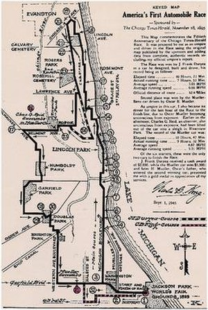 Chicago Times-Herald race - America's First Automobile Race map