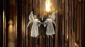 A scene where the Doctor is lifted through the ship by the angelic Host caused offence to the group Christian Voice.