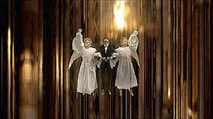 Voyage of the Damned (Doctor Who) - A scene where the Doctor was lifted by the angelic Host to the ship's bridge was both criticised and praised for its religious imagery.