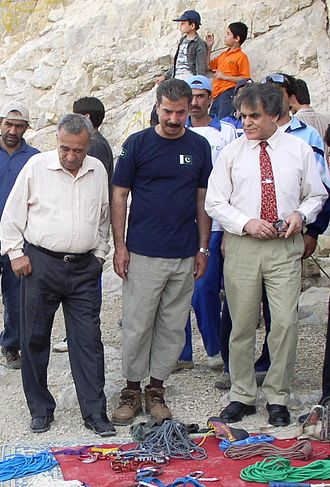 Hayatullah Khan Durrani -  Hayatullah Khan Durrani with Ashraf Aman and Nazir Sabir (Pakistan's three Notable Mountaineers) supervising a Rock-Climbing camp Quetta 26th June 2008
