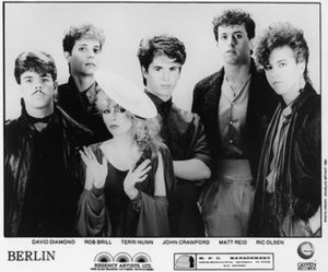 Berlin (band) - Berlin, 1984. L-R: David Diamond, Rob Brill, Terri Nunn, John Crawford, Matt Reid, and Ric Olsen.