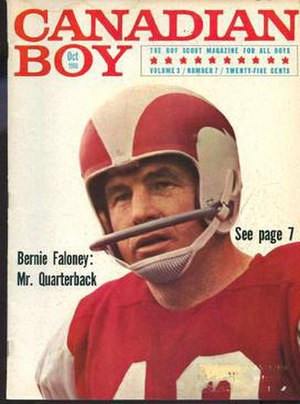 Bernie Faloney - Faloney featured in the October 1966 issue of Canadian Boy'