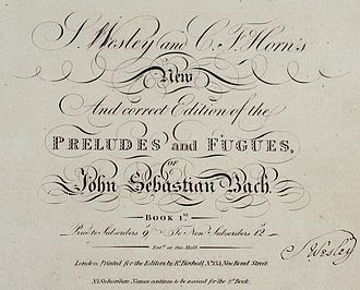 Robert Birchall - Part of the title page of Robert Birchall's 1810 English edition of Johann Sebastian Bach's Well-Tempered Clavier