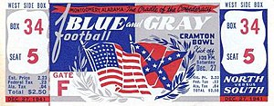 Blue–Gray Football Classic - Ticket to the 1941 game