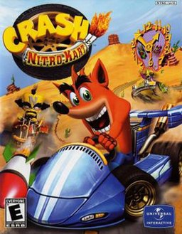 Driving a kart, Crash Bandicoot dodges a missile fired by Doctor Neo Cortex, with Nitros Oxide pursuing both of them