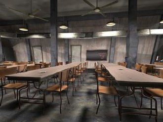 Ryan (film) - The cafeteria appears to have been rendered by nonlinear projection when viewed from a linear perspective camera